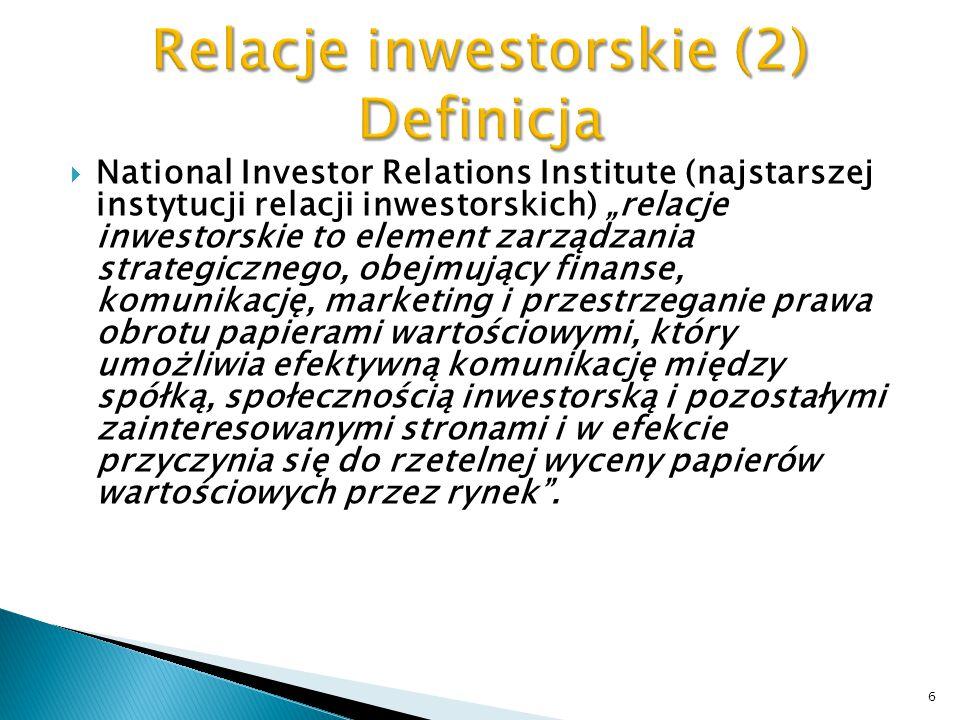 Relacje inwestorskie (2) Definicja