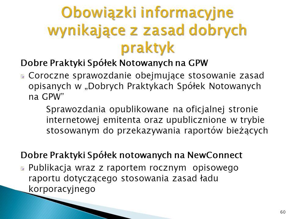 Obowiązki informacyjne wynikające z zasad dobrych praktyk