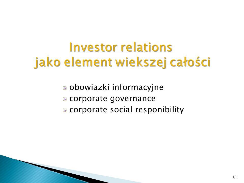 Investor relations jako element wiekszej całości