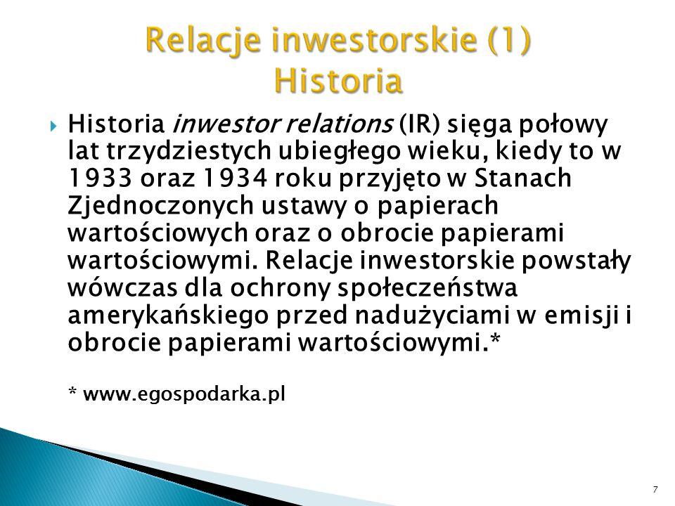 Relacje inwestorskie (1) Historia