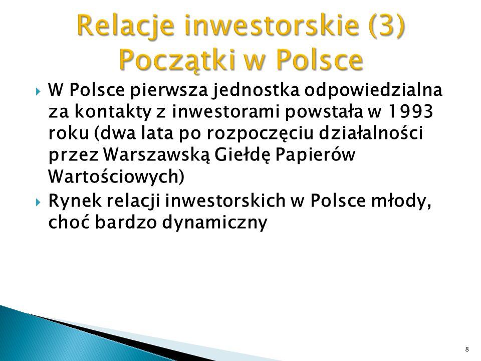 Relacje inwestorskie (3) Początki w Polsce