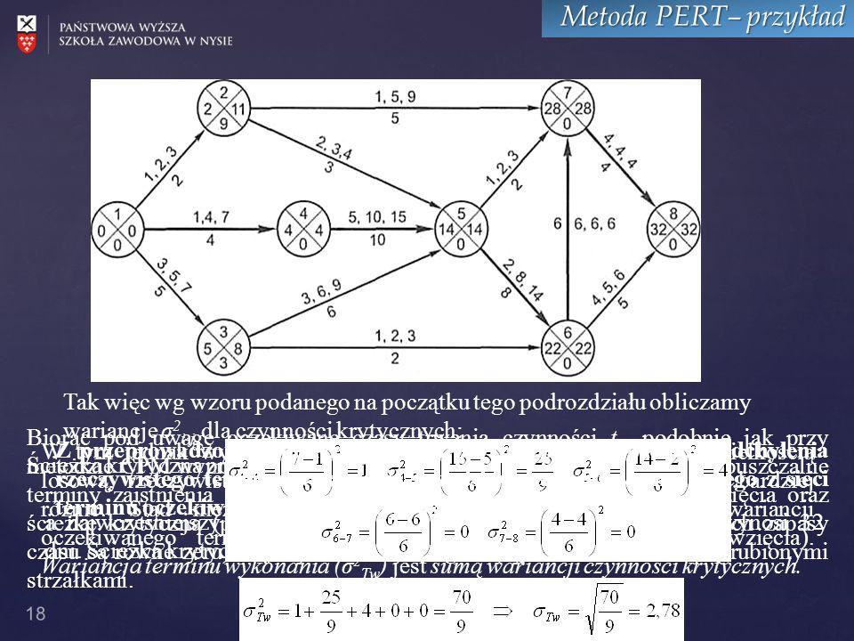Metoda PERT– przykład Tak więc wg wzoru podanego na początku tego podrozdziału obliczamy wariancje σ2i-j dla czynności krytycznych: