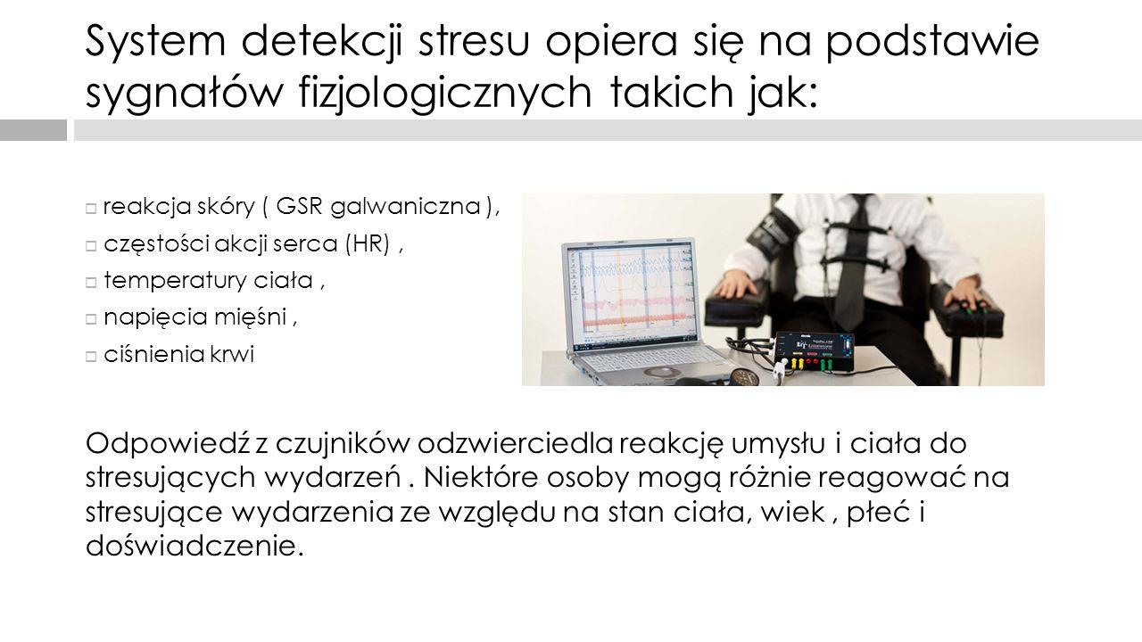System detekcji stresu opiera się na podstawie sygnałów fizjologicznych takich jak: