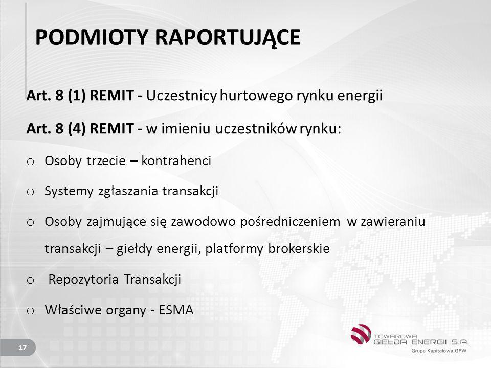 PODMIOTY RAPORTUJĄCE Art. 8 (1) REMIT - Uczestnicy hurtowego rynku energii. Art. 8 (4) REMIT - w imieniu uczestników rynku: