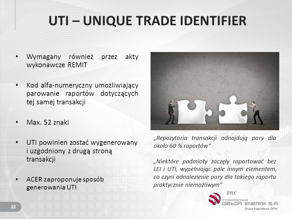 UTI – UNIQUE TRADE IDENTIFIER