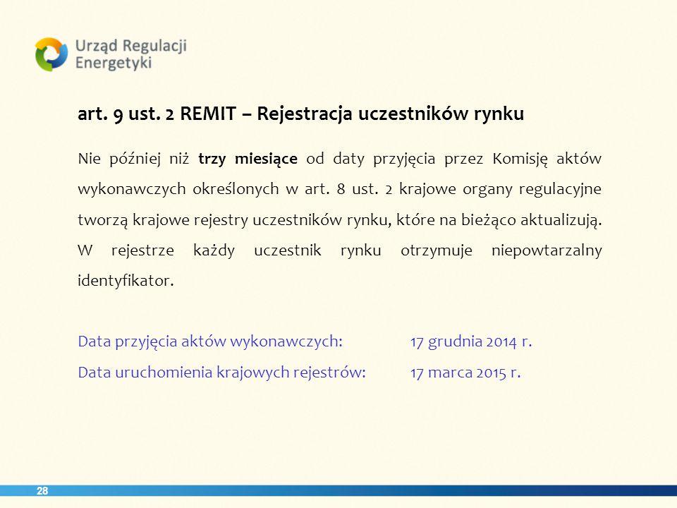 art. 9 ust. 2 REMIT – Rejestracja uczestników rynku
