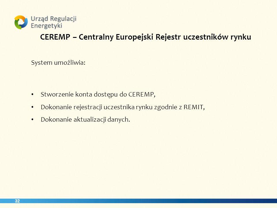 CEREMP – Centralny Europejski Rejestr uczestników rynku
