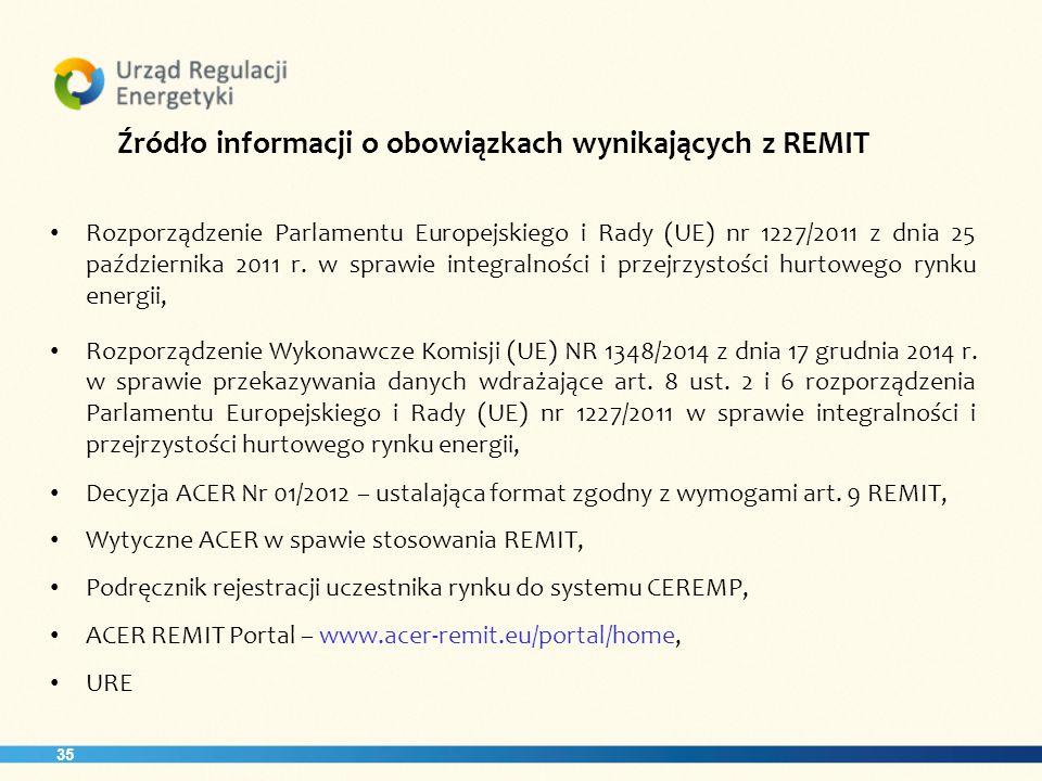 Źródło informacji o obowiązkach wynikających z REMIT