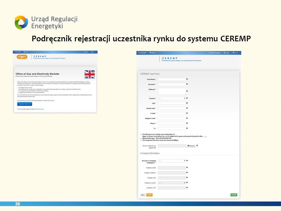 Podręcznik rejestracji uczestnika rynku do systemu CEREMP