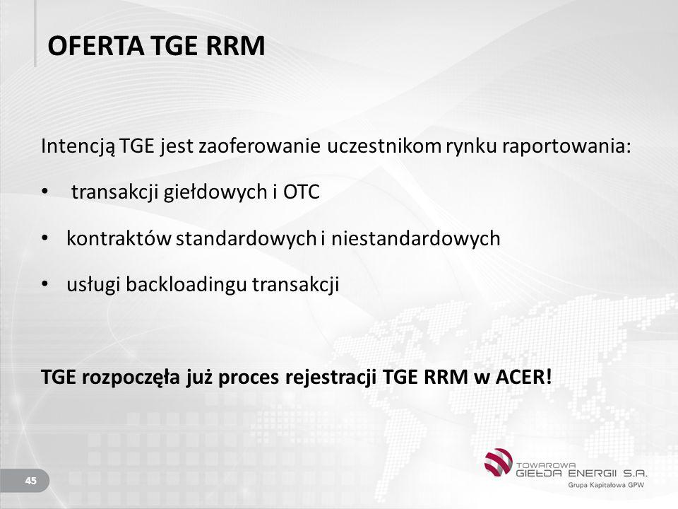 OFERTA TGE RRM Intencją TGE jest zaoferowanie uczestnikom rynku raportowania: transakcji giełdowych i OTC.