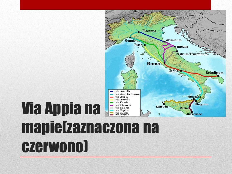 Via Appia na mapie(zaznaczona na czerwono)