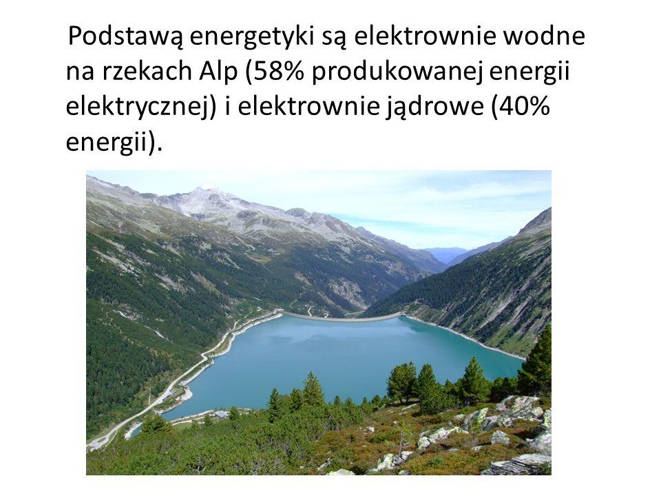 Podstawą energetyki są elektrownie wodne na rzekach Alp (58% produkowanej energii elektrycznej) i elektrownie jądrowe (40% energii).