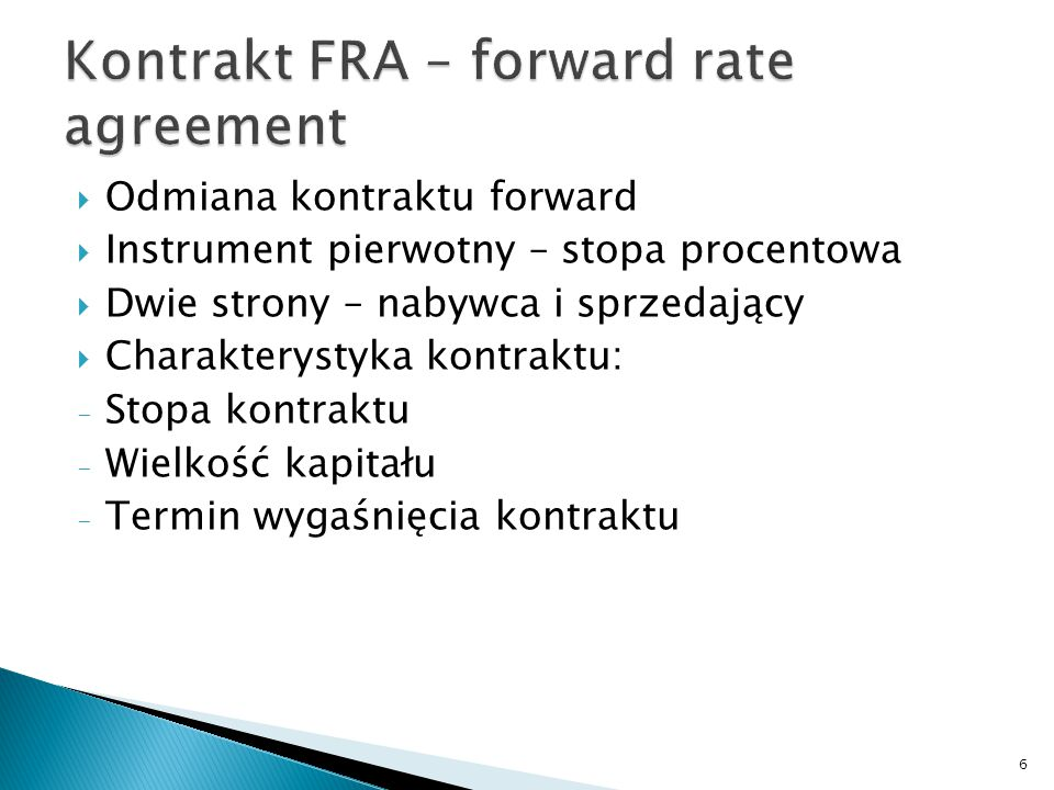Kontrakt FRA – forward rate agreement