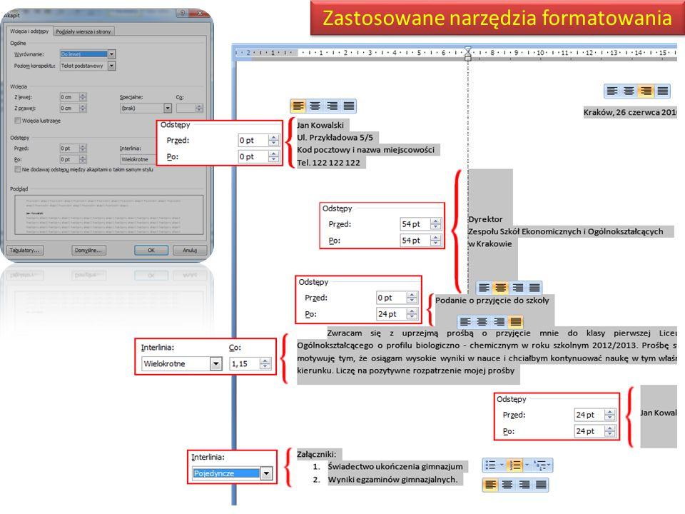 Zastosowane narzędzia formatowania