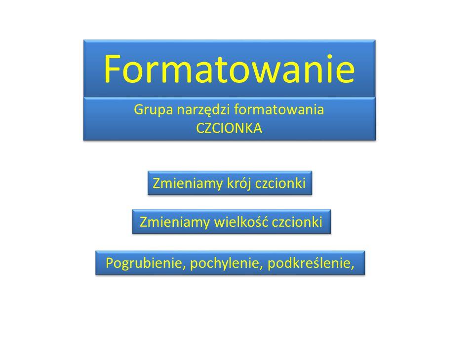 Formatowanie Grupa narzędzi formatowania CZCIONKA