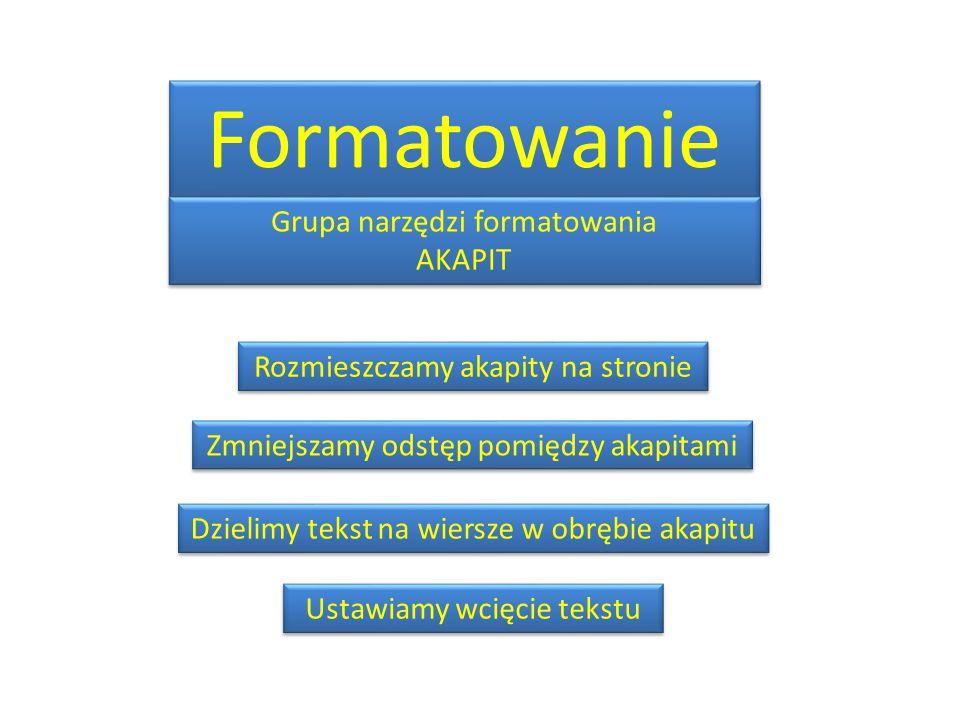 Formatowanie Grupa narzędzi formatowania AKAPIT