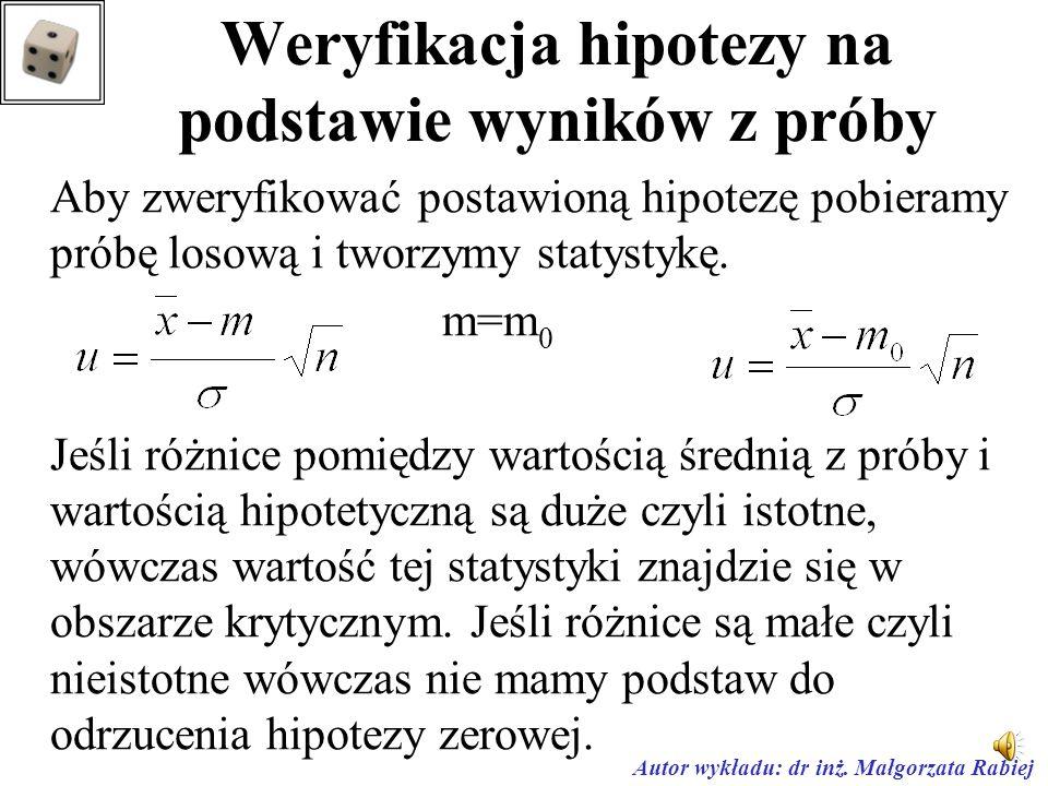 Weryfikacja hipotezy na podstawie wyników z próby