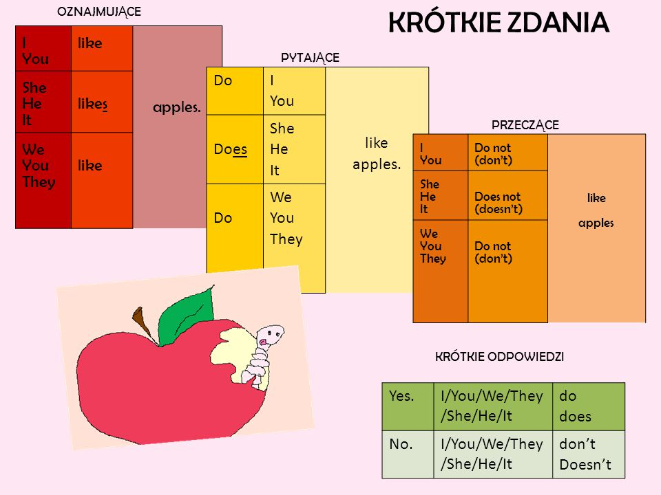 KRÓTKIE ZDANIA I You like apples. She He It likes We They Do I You