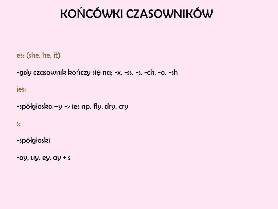KOŃCÓWKI CZASOWNIKÓW es: (she, he, it)
