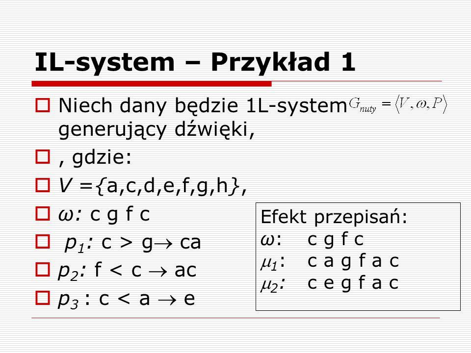 IL-system – Przykład 1 Niech dany będzie 1L-system generujący dźwięki,