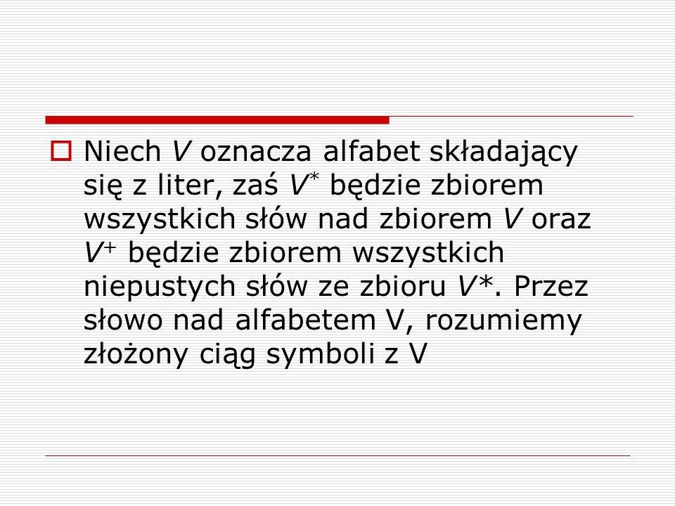 Niech V oznacza alfabet składający się z liter, zaś V