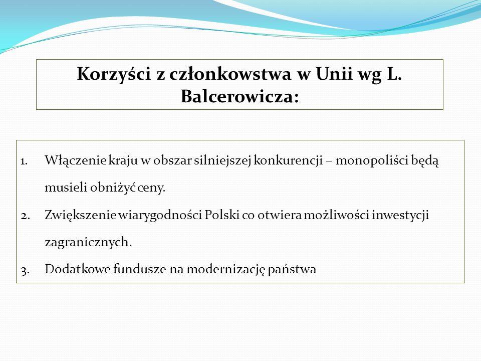 Korzyści z członkowstwa w Unii wg L. Balcerowicza: