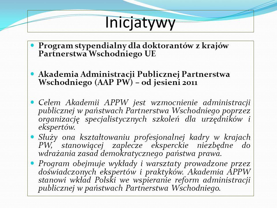 Inicjatywy Program stypendialny dla doktorantów z krajów Partnerstwa Wschodniego UE.