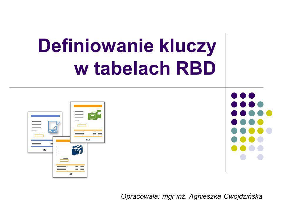 Definiowanie kluczy w tabelach RBD