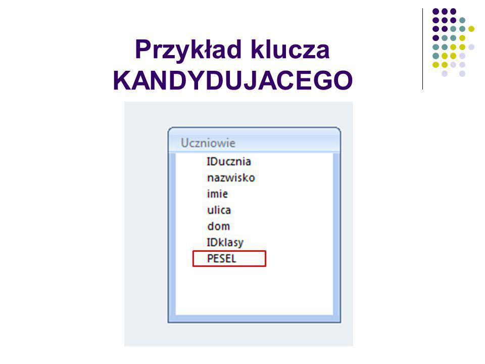Przykład klucza KANDYDUJACEGO