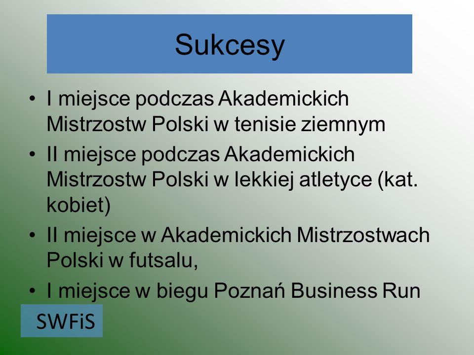 Sukcesy I miejsce podczas Akademickich Mistrzostw Polski w tenisie ziemnym.