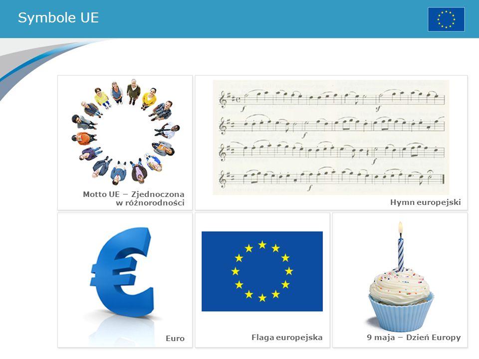 Symbole UE Motto UE − Zjednoczona w różnorodności Hymn europejski Euro