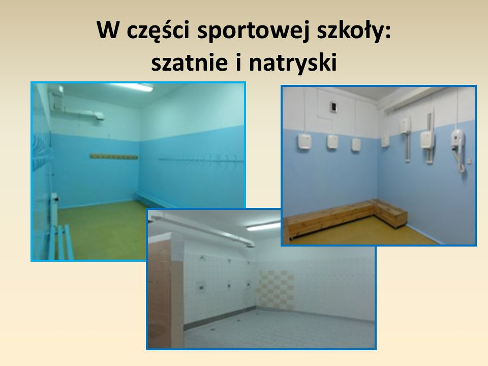 W części sportowej szkoły: szatnie i natryski