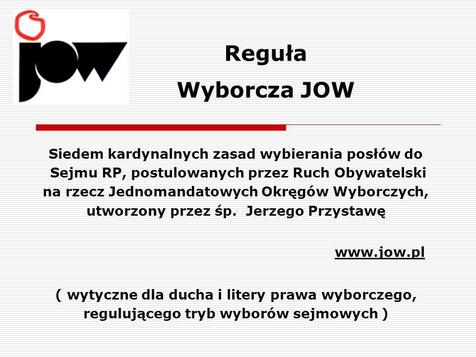 Reguła Wyborcza JOW www.jow.pl