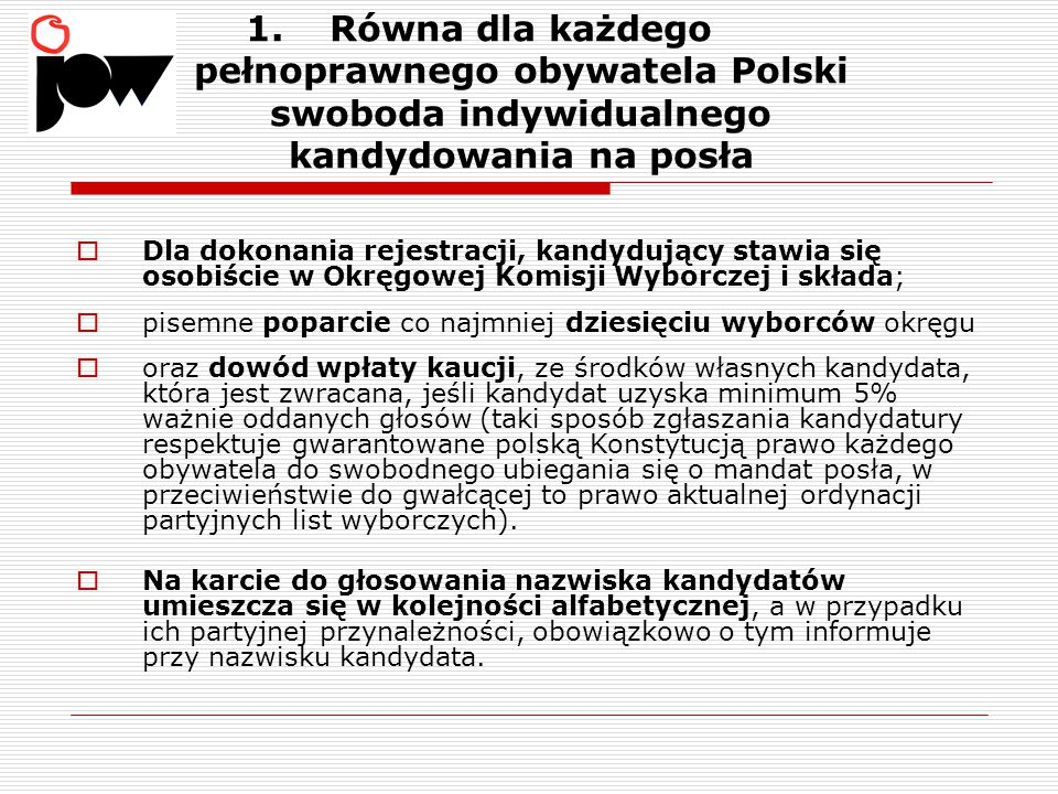 Równa dla każdego pełnoprawnego obywatela Polski swoboda indywidualnego kandydowania na posła