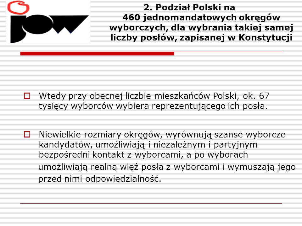 2. Podział Polski na 460 jednomandatowych okręgów wyborczych, dla wybrania takiej samej liczby posłów, zapisanej w Konstytucji