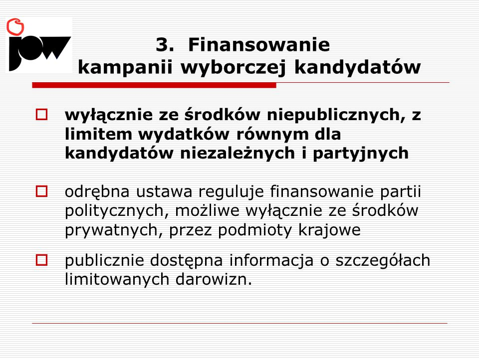 3. Finansowanie kampanii wyborczej kandydatów