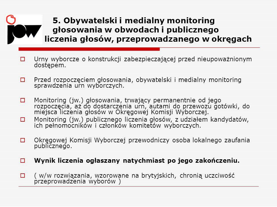 5. Obywatelski i medialny monitoring głosowania w obwodach i publicznego liczenia głosów, przeprowadzanego w okręgach