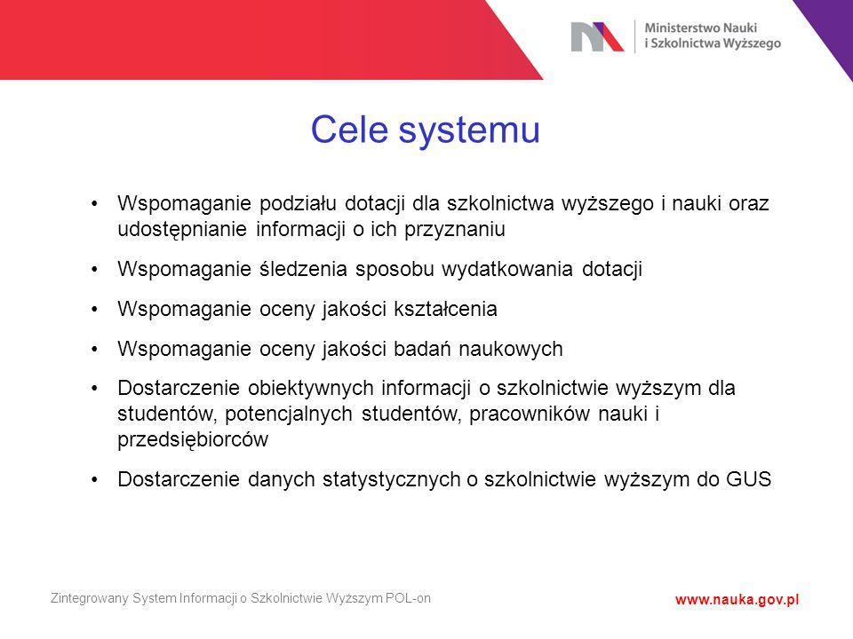 Cele systemu Wspomaganie podziału dotacji dla szkolnictwa wyższego i nauki oraz udostępnianie informacji o ich przyznaniu.