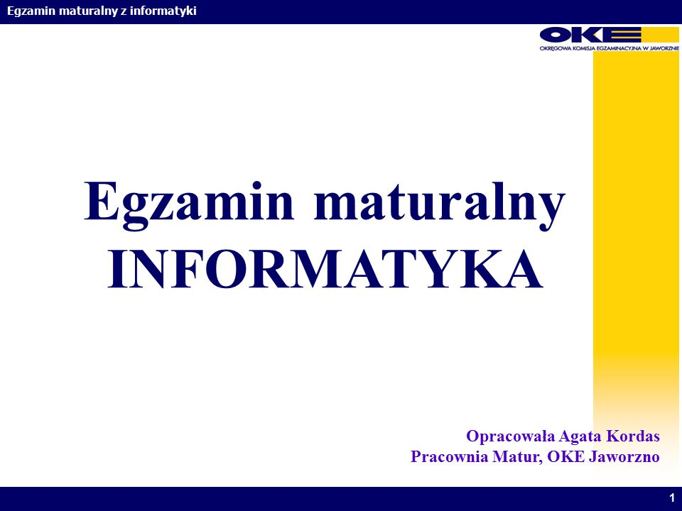Egzamin maturalny INFORMATYKA