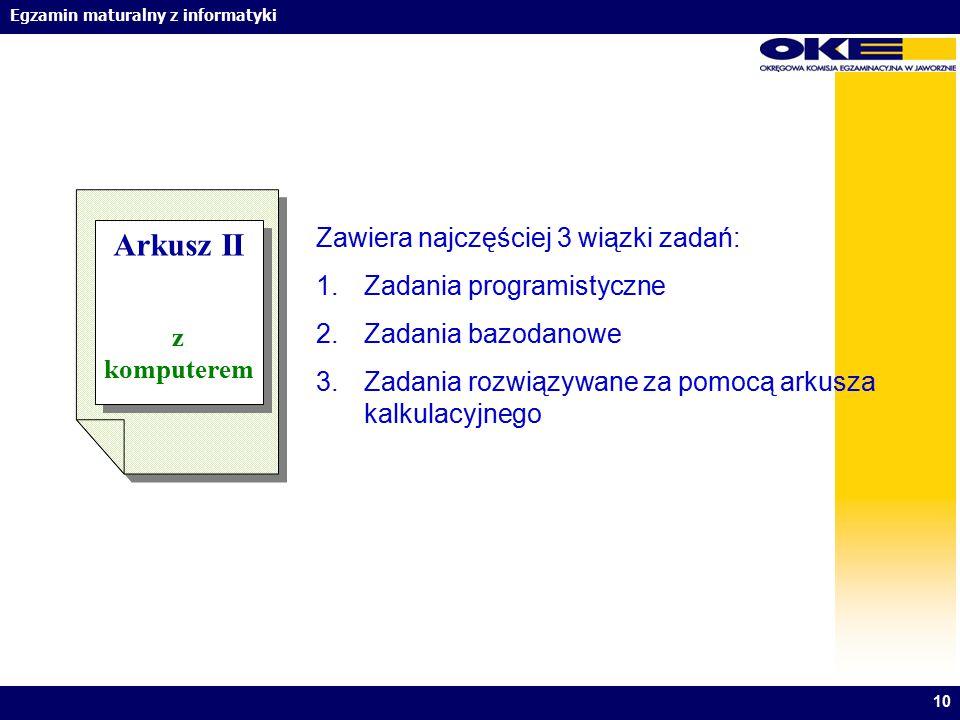 Arkusz II Zawiera najczęściej 3 wiązki zadań: Zadania programistyczne