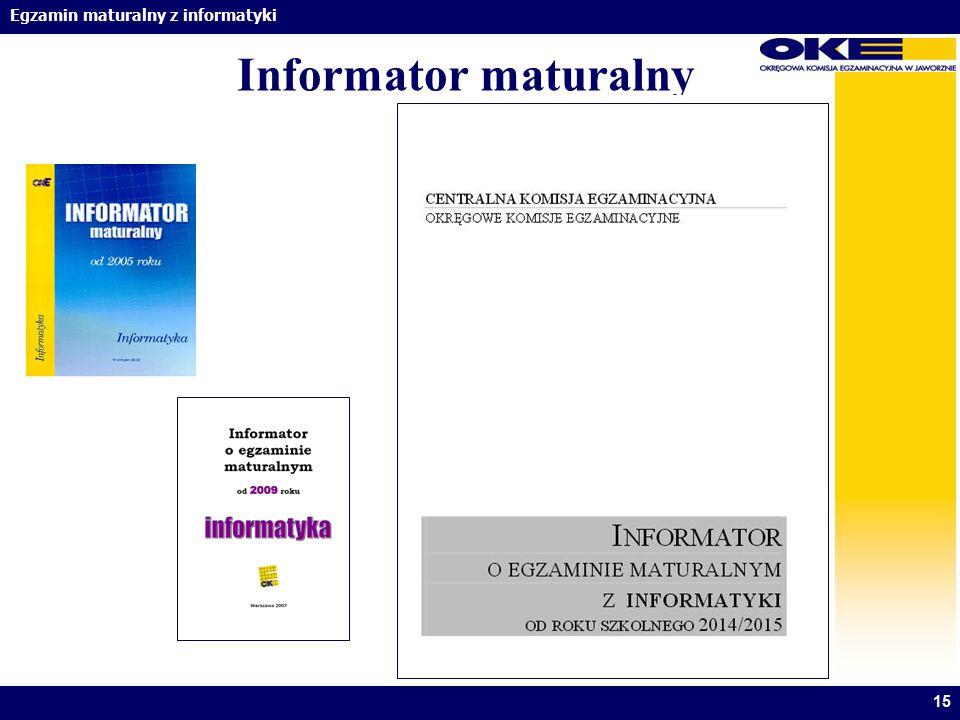 Informator maturalny Informatory ukazują się od 2002.