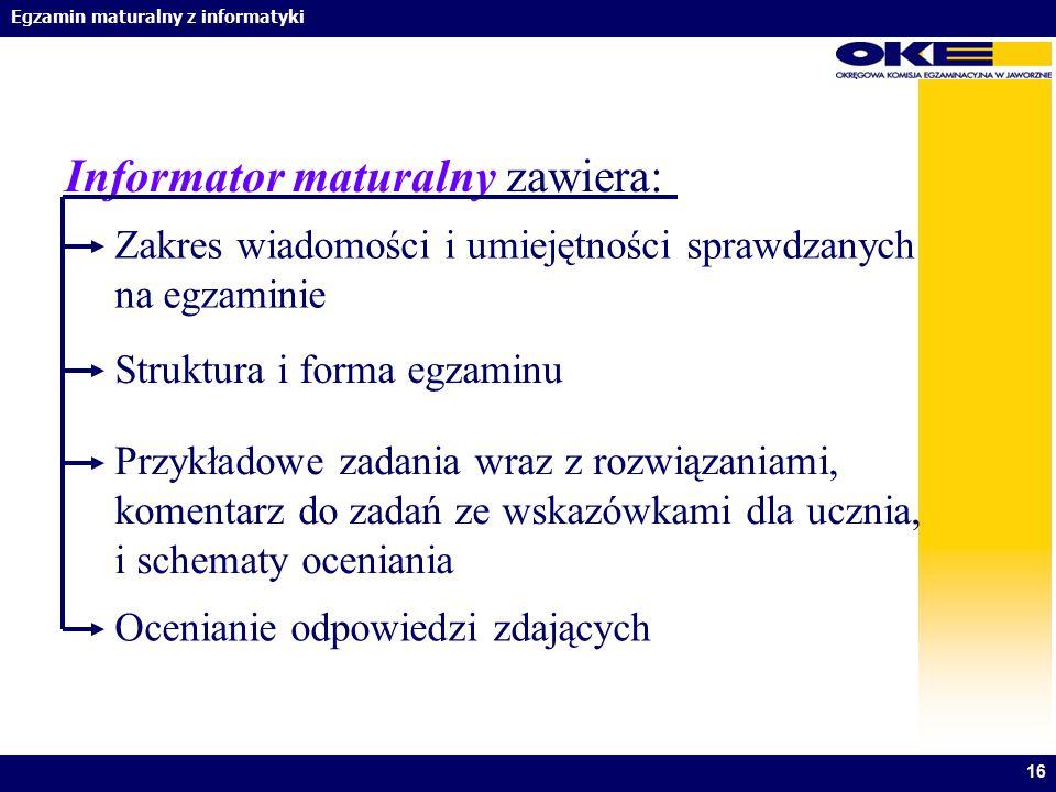 Informator maturalny zawiera: