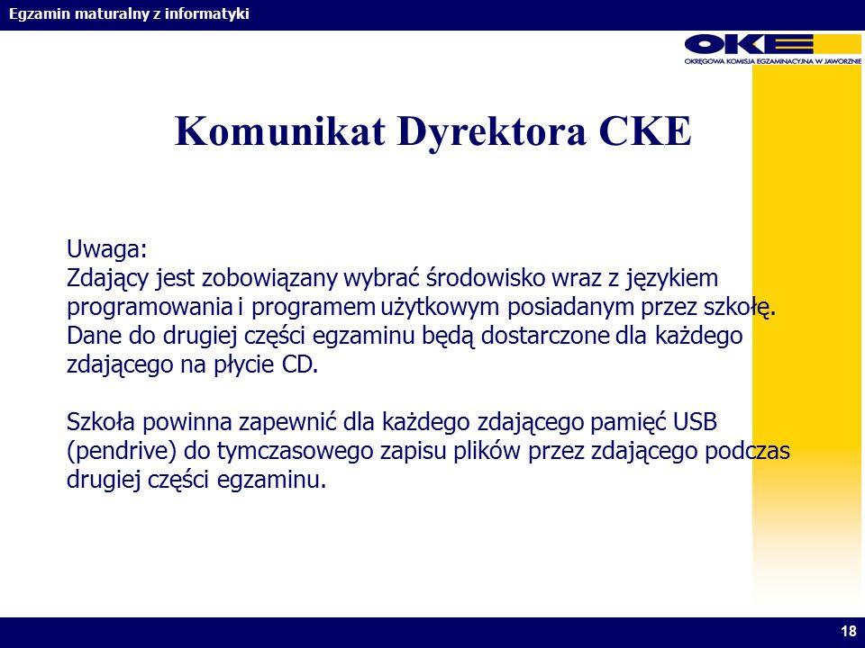 Komunikat Dyrektora CKE