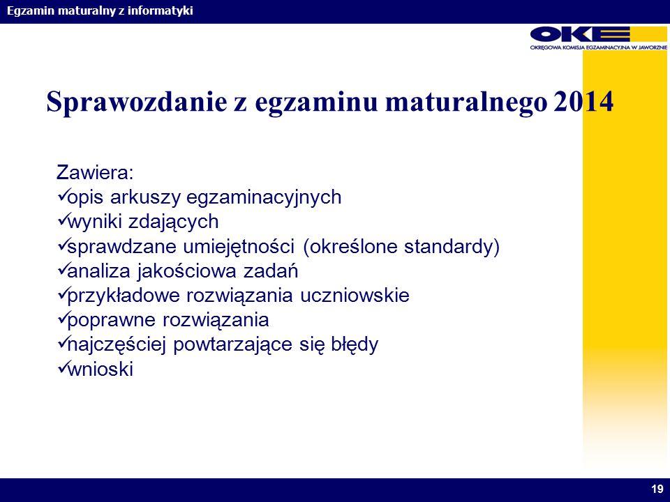 Sprawozdanie z egzaminu maturalnego 2014