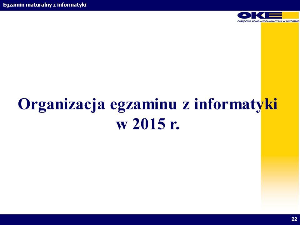 Organizacja egzaminu z informatyki w 2015 r.