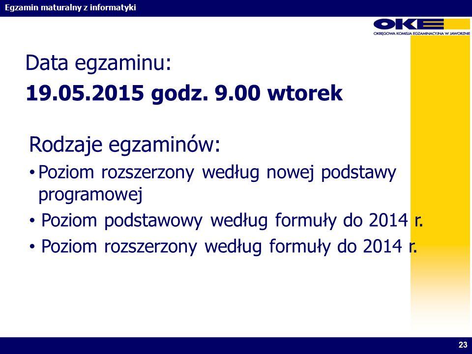 Data egzaminu: 19.05.2015 godz. 9.00 wtorek