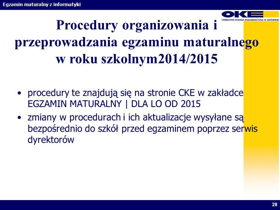 Procedury organizowania i przeprowadzania egzaminu maturalnego w roku szkolnym2014/2015