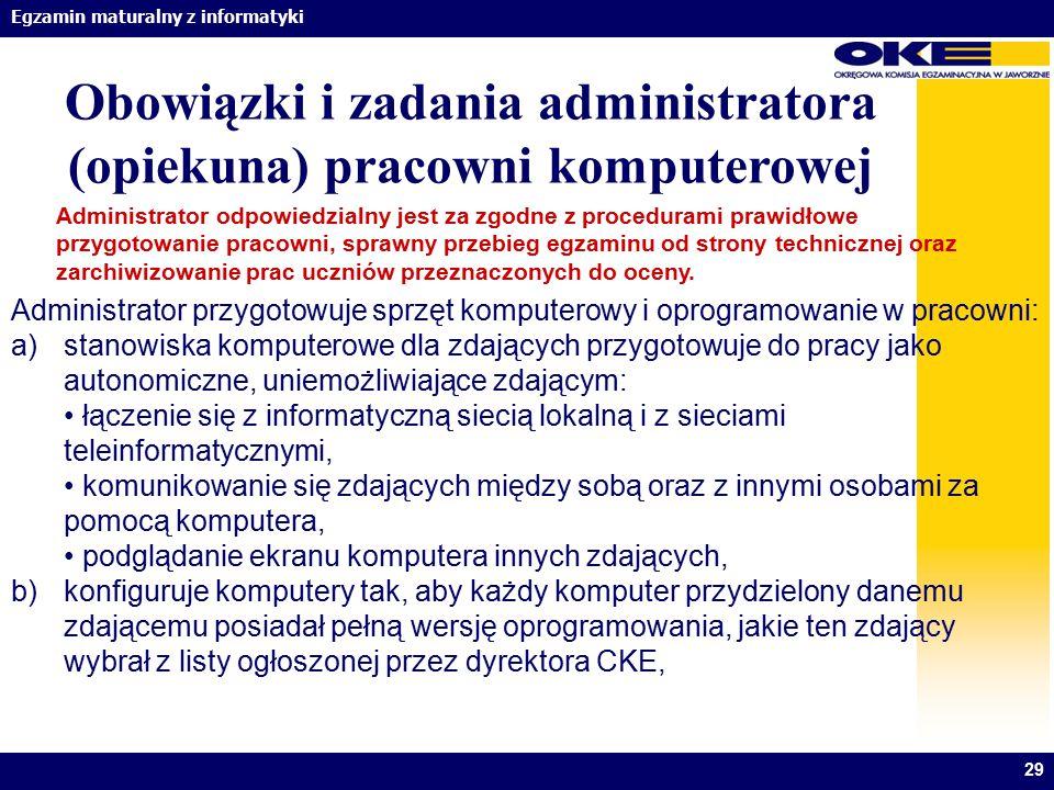 Obowiązki i zadania administratora (opiekuna) pracowni komputerowej