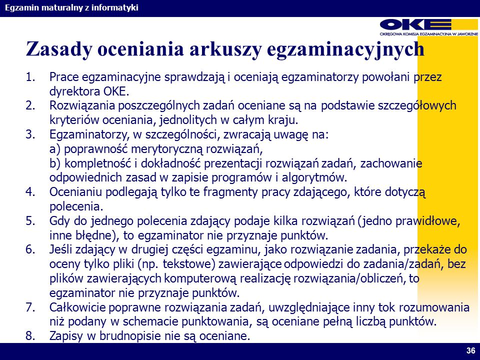 Zasady oceniania arkuszy egzaminacyjnych