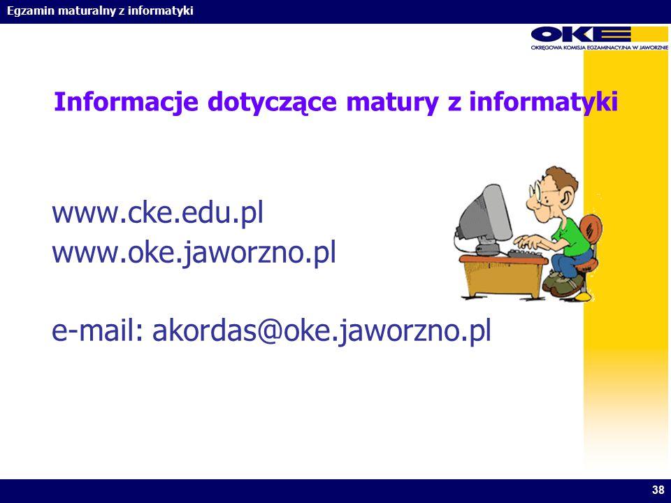 Informacje dotyczące matury z informatyki